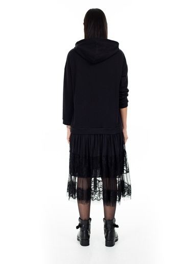 Lela Lela Kapüşonlu Kadın Elbise 5306361 Siyah